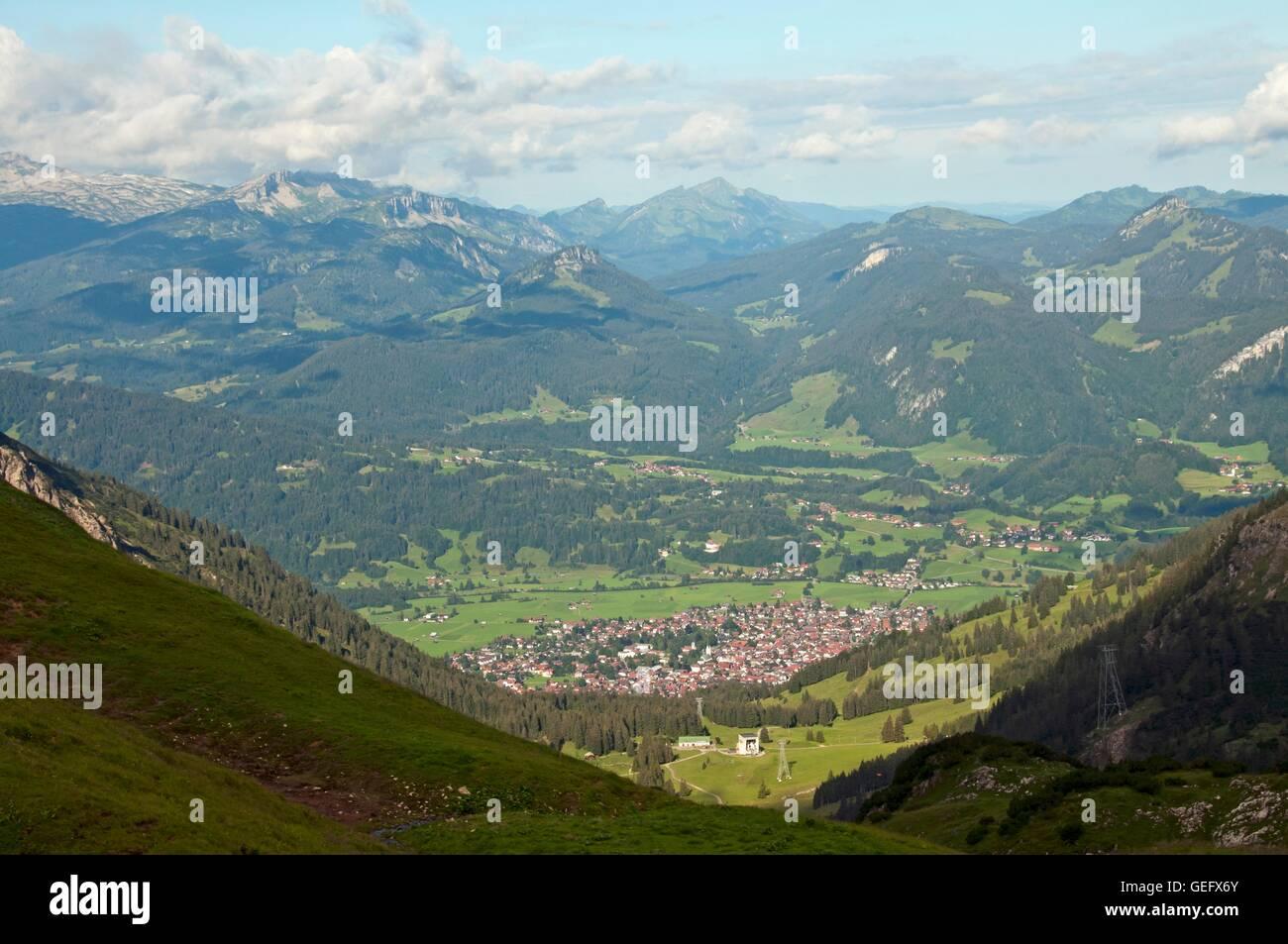 Nebelhorn Cableway with station Seealpe, Oberstdorf, Allgaeu, Bavaria - Stock Image