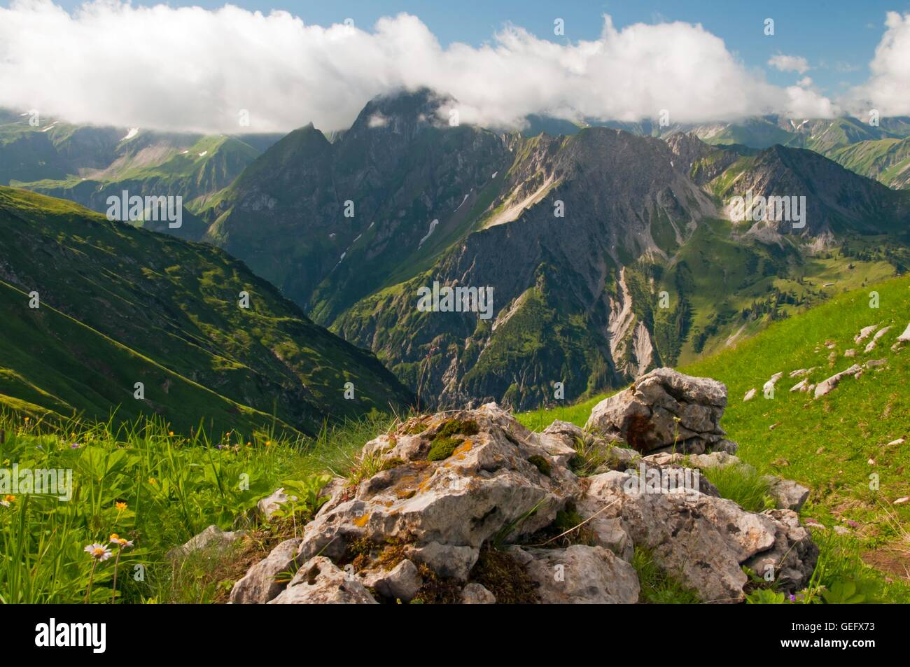 Hoefats, Allgaeu Alps, Allgaeu, Bavaria - Stock Image