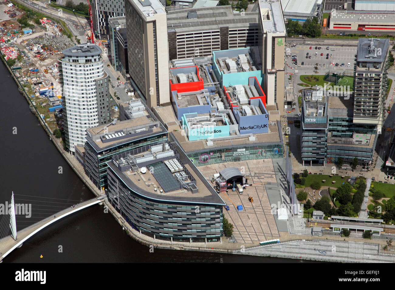 aerial view of the BBC studios in MediaCity, Salford Quays, Manchester, UK - Stock Image