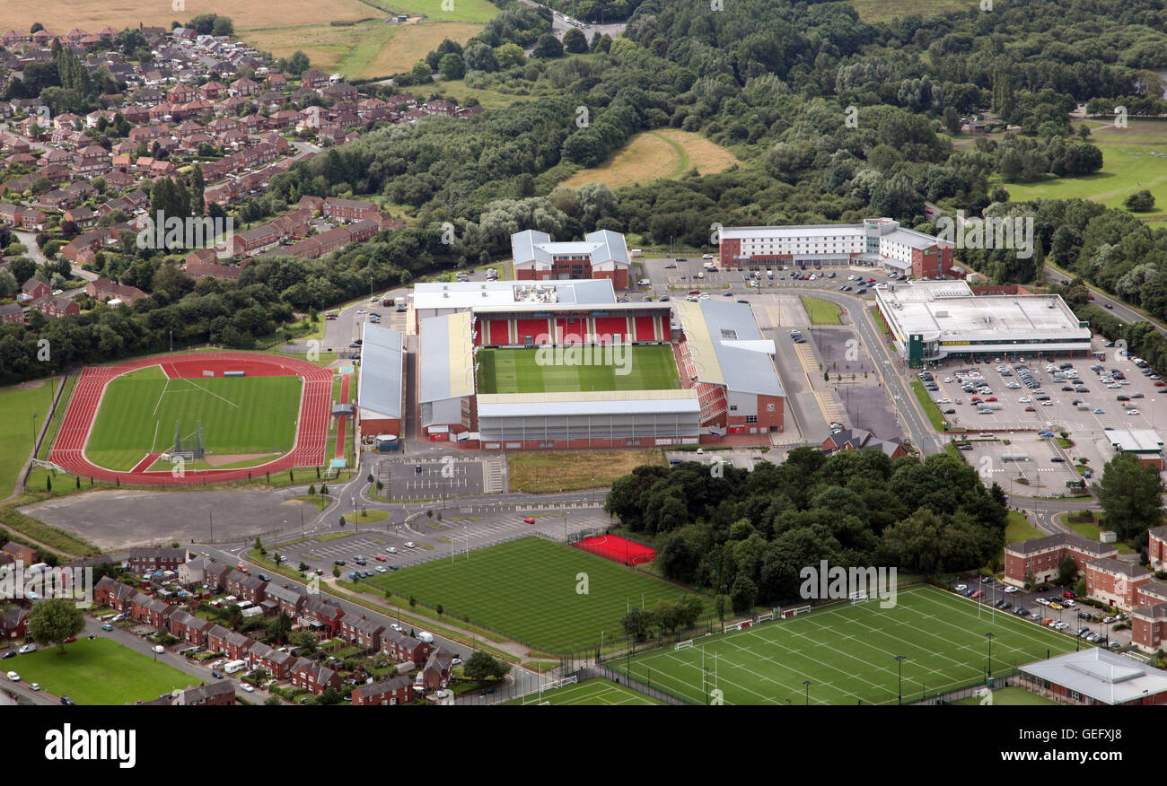 aerial view of Leigh Centurions Rugby League Club ground, Leigh Sports Village Stadium, Lancashire, UK - Stock Image