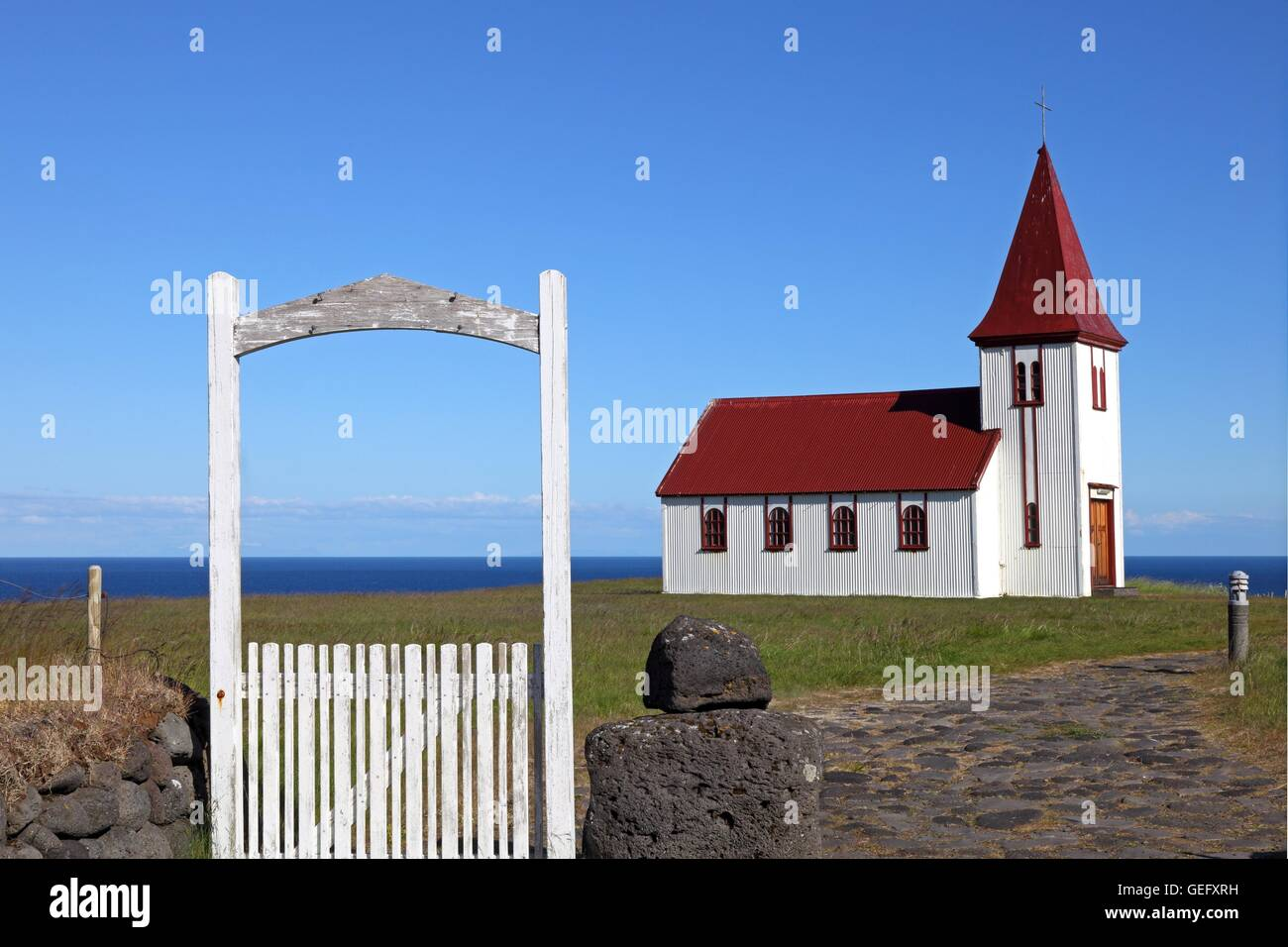 Church of Hellnar, Vesturland, Iceland - Stock Image