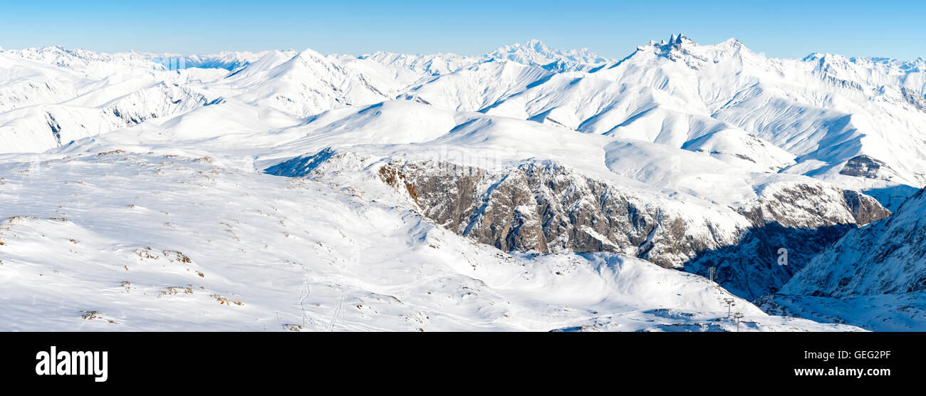panoramic view of snowy peaks and Mont Blanc in the French Alps Stock Photo
