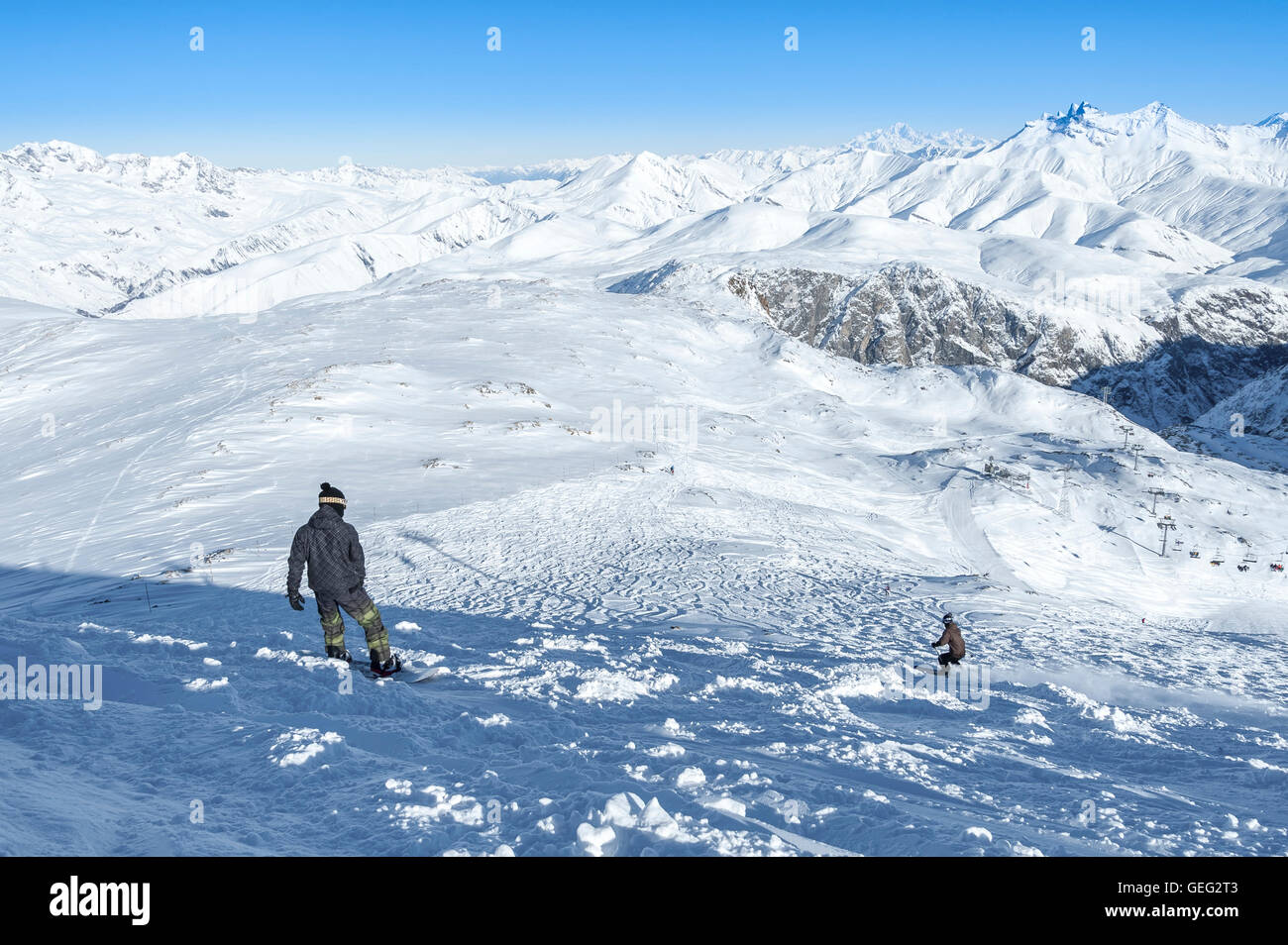 Snowboarders in the French Alps, France, Europe - Stock Image