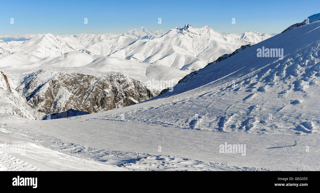 Mont Blanc and other snowy peaks, France, Europe - Stock Image