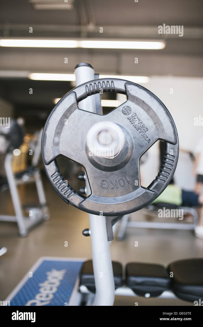 Gym equipment barbell - Stock Image