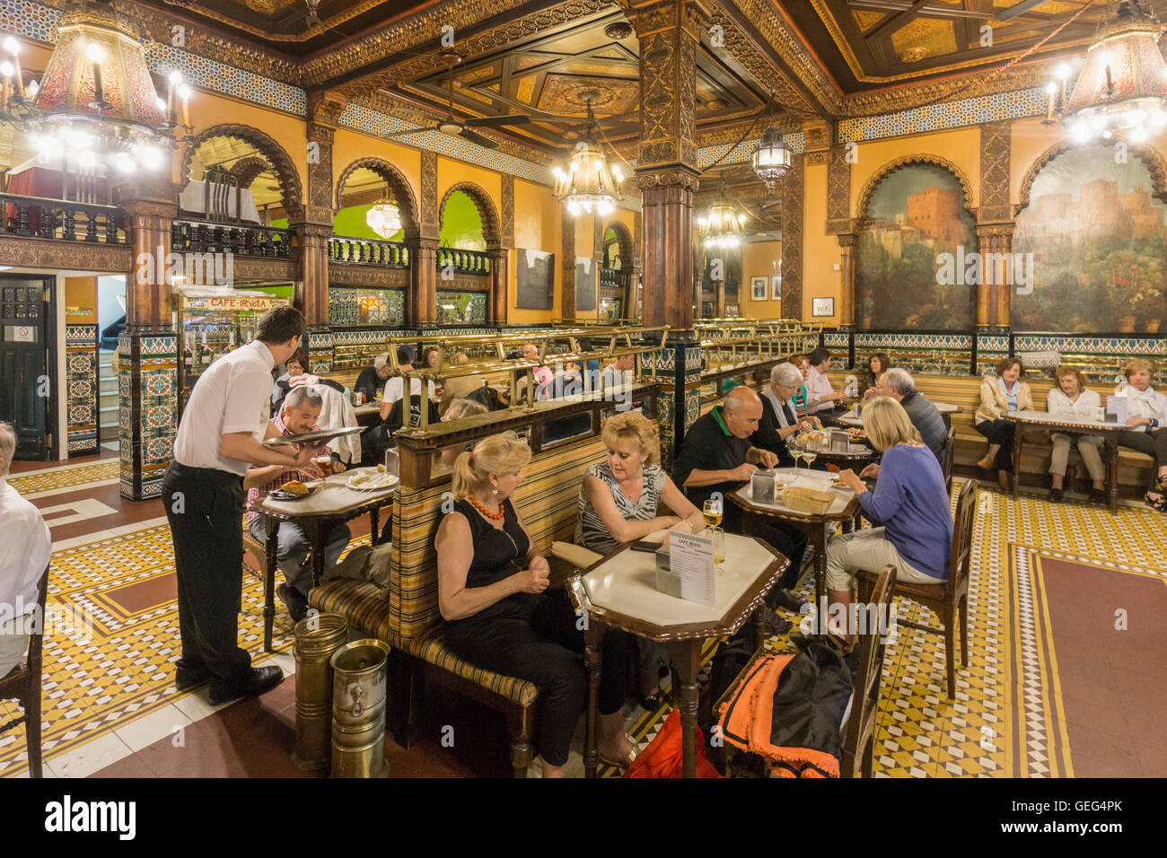 Interior of the historical Cafe Iruna established in 1903, Bilbao, Basque Country, Spain - Stock Image