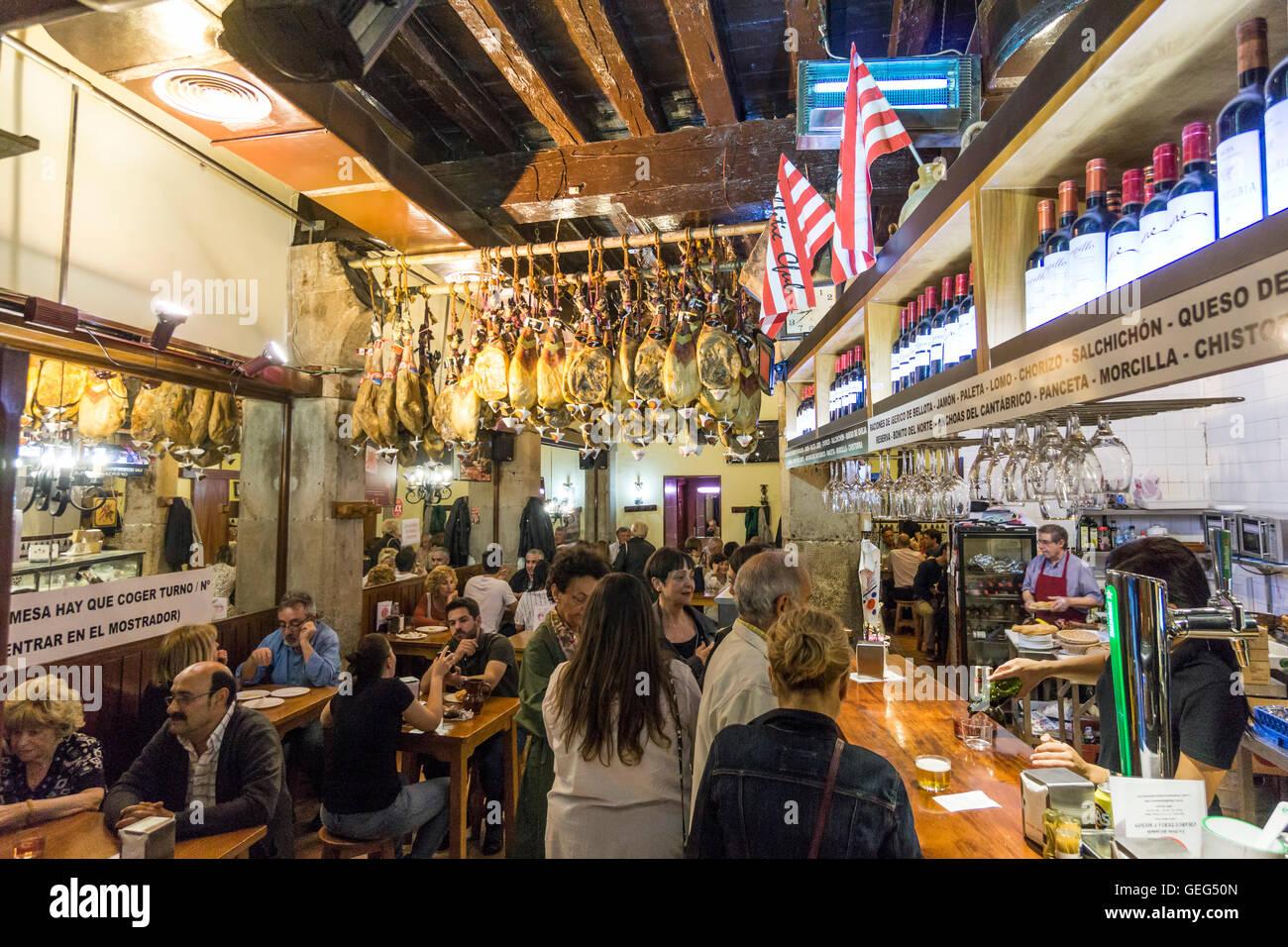 Tapaz Bar in Bilbao, Plaza Nueva,  Basque Country, Spain - Stock Image