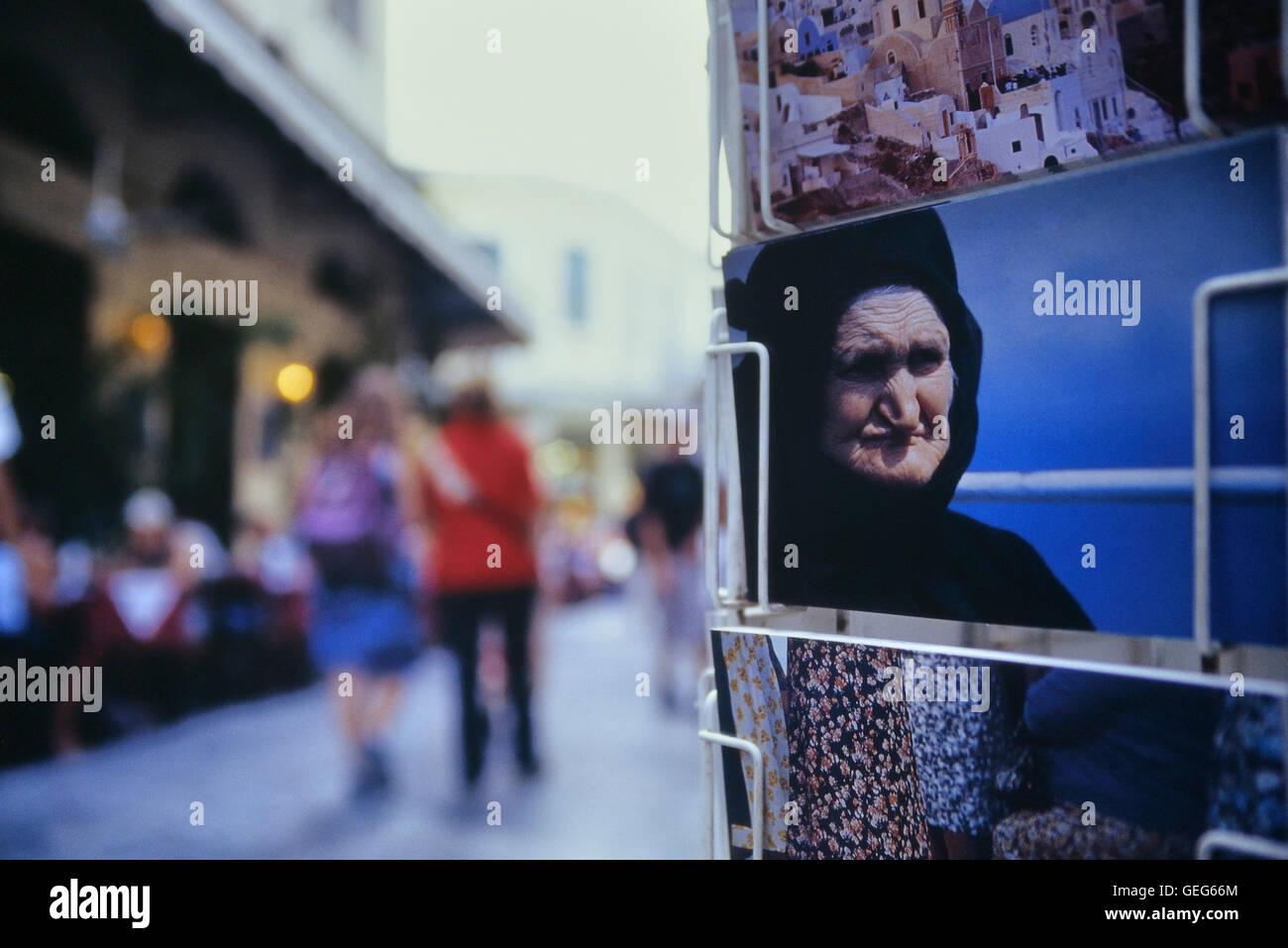 Postcard rack in the Plaka neighborhood of Athens. Greece. Europe Stock Photo