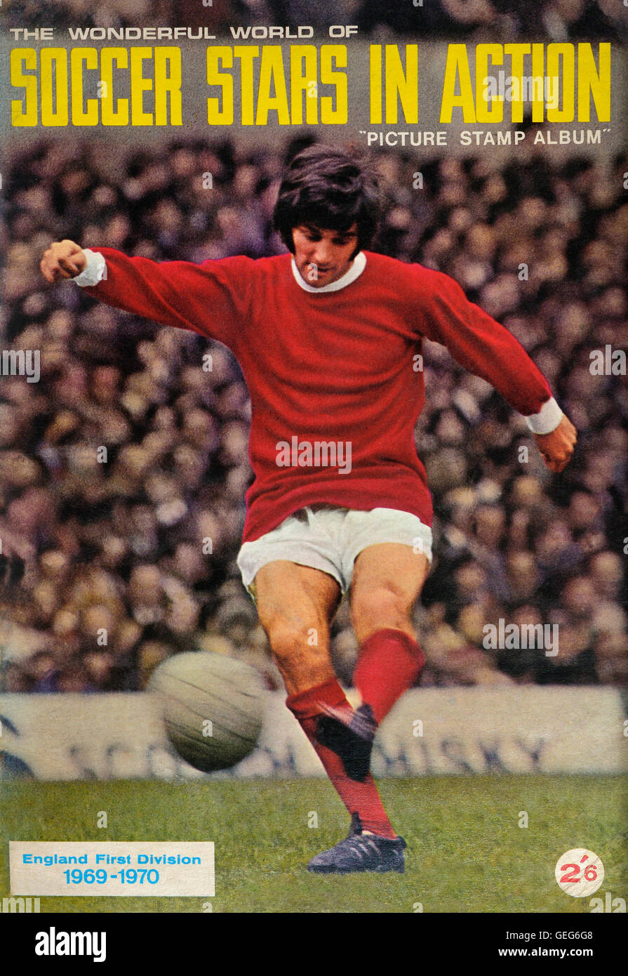 The wonderful world of soccer stars in action picture stamp album front cover of George Best. 1969-1970 - Stock Image