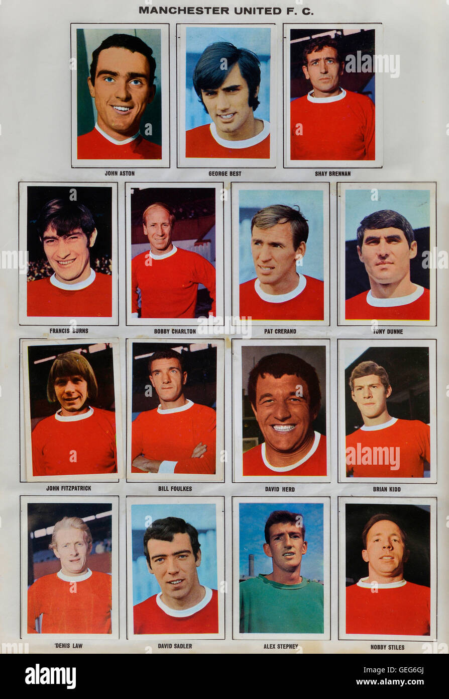 The wonderful world of soccer stars picture stamp album 1968-1969 of the Manchester United squad - Stock Image