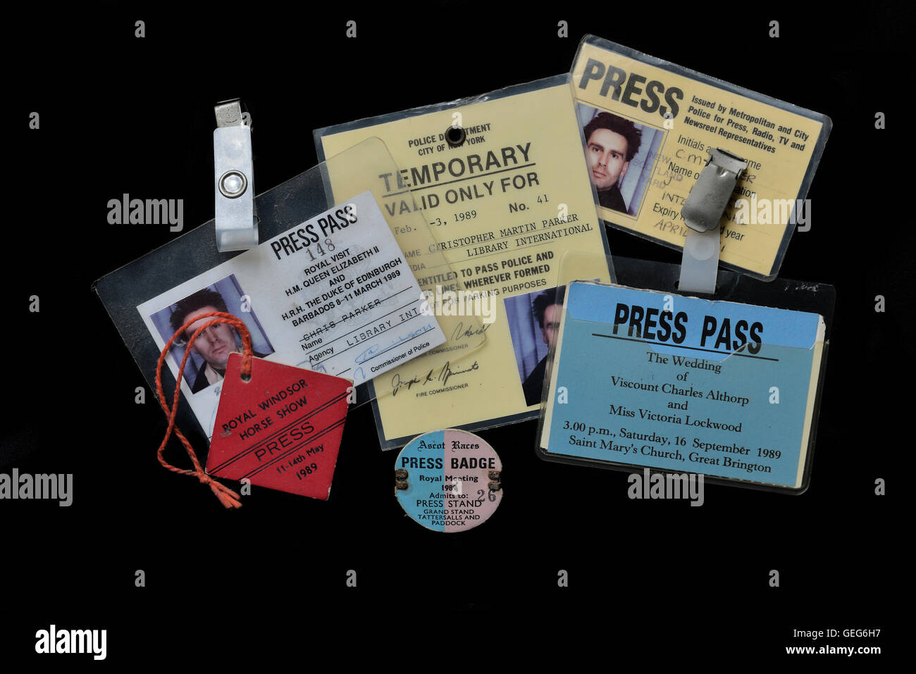 A selection of press I.D. passes from the 1980's - Stock Image