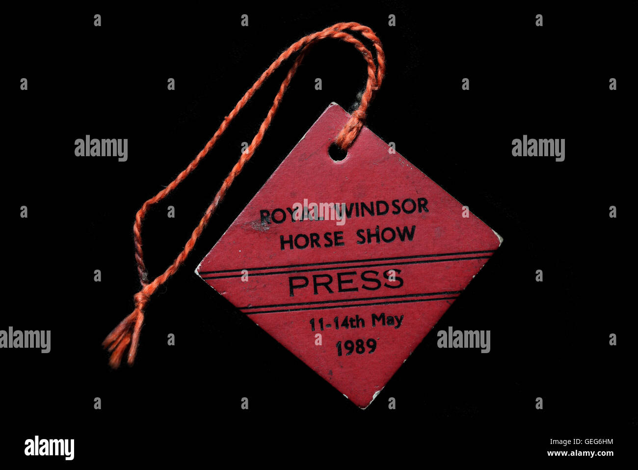 Royal Windsor Horse Show 11-14th May 1989 press card. - Stock Image