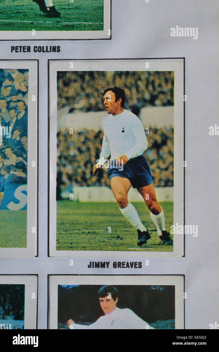The wonderful world of soccer stars in action picture stamp 1969-1970 album featuring Jimmy Greaves of Tottenham - Stock Image