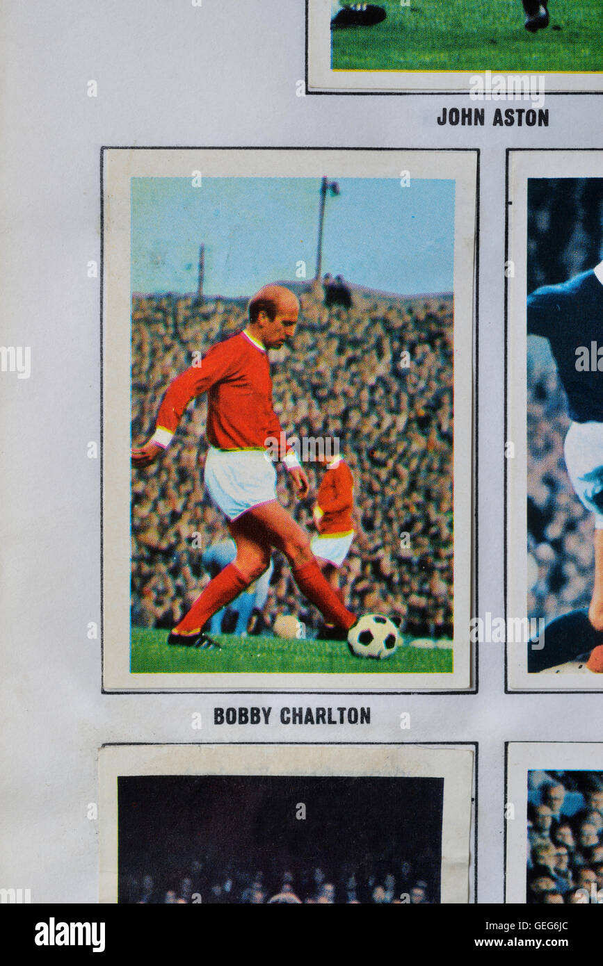 The wonderful world of soccer stars in action picture stamp album featuring Bobby Charlton of Manchester United Stock Photo