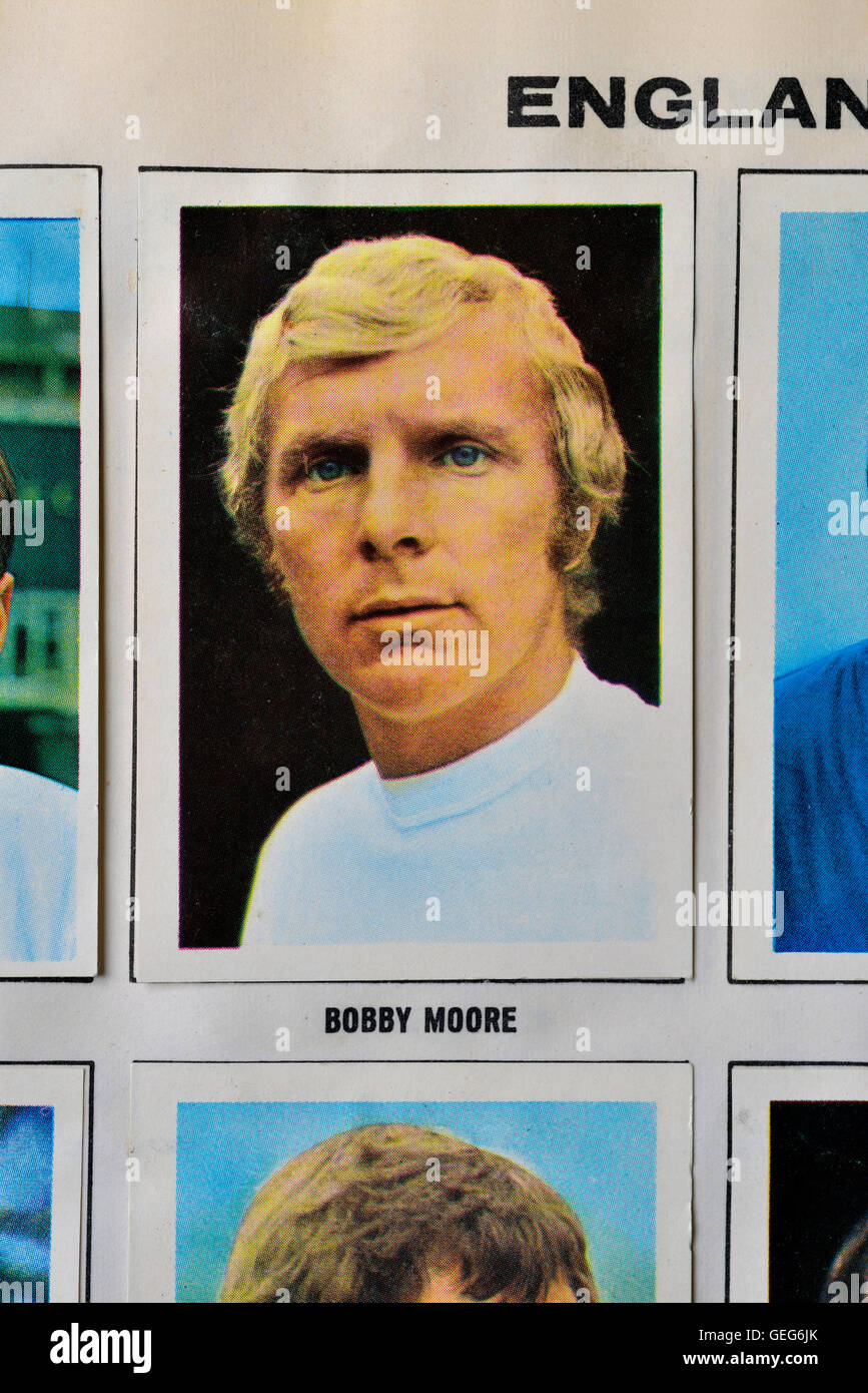 World cup soccer stars Mexico 70 collection featuring England's captain, Bobby Moore. - Stock Image