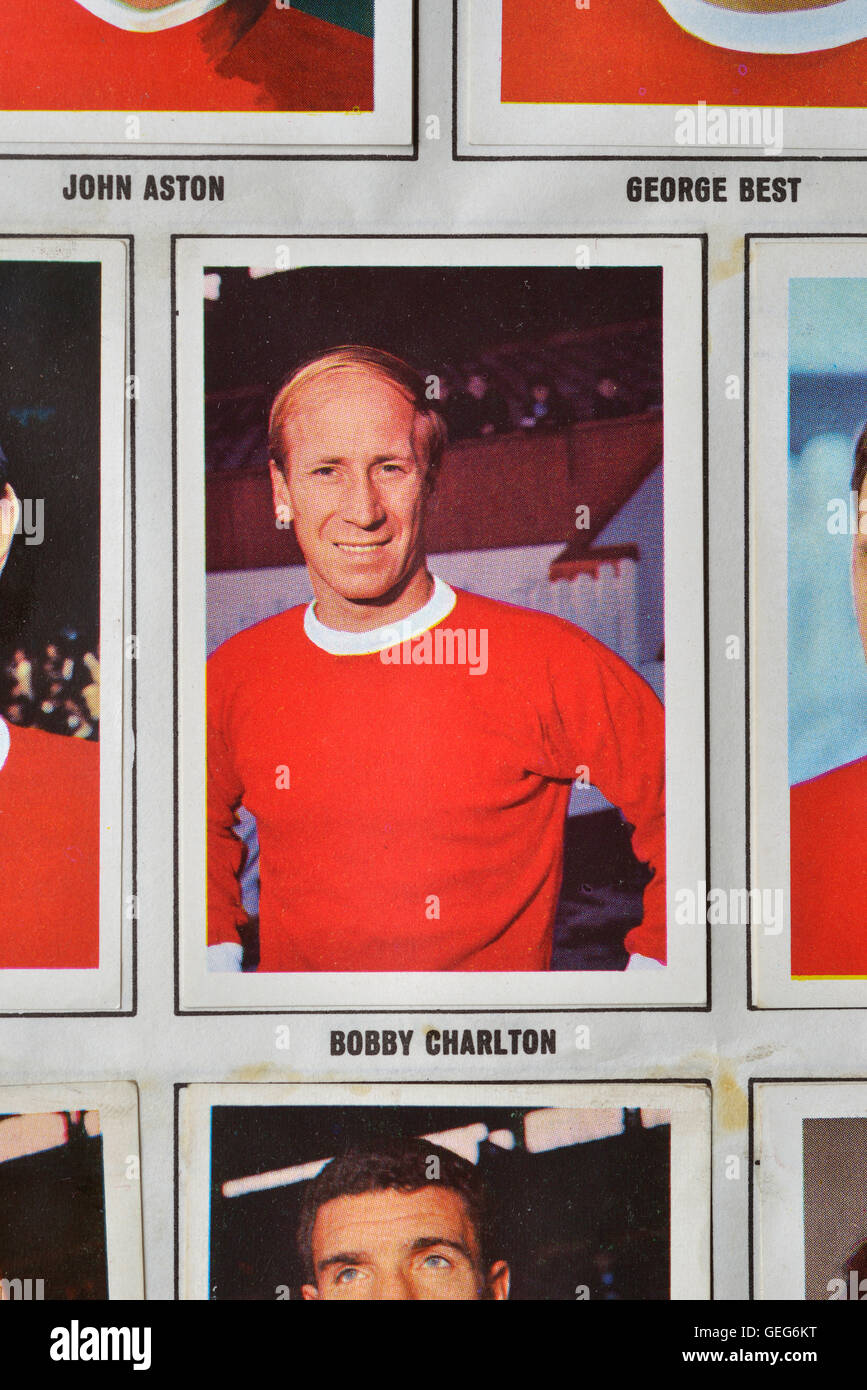 The wonderful world of soccer stars picture stamp album 1968-1969 of Bobby Charlton Stock Photo