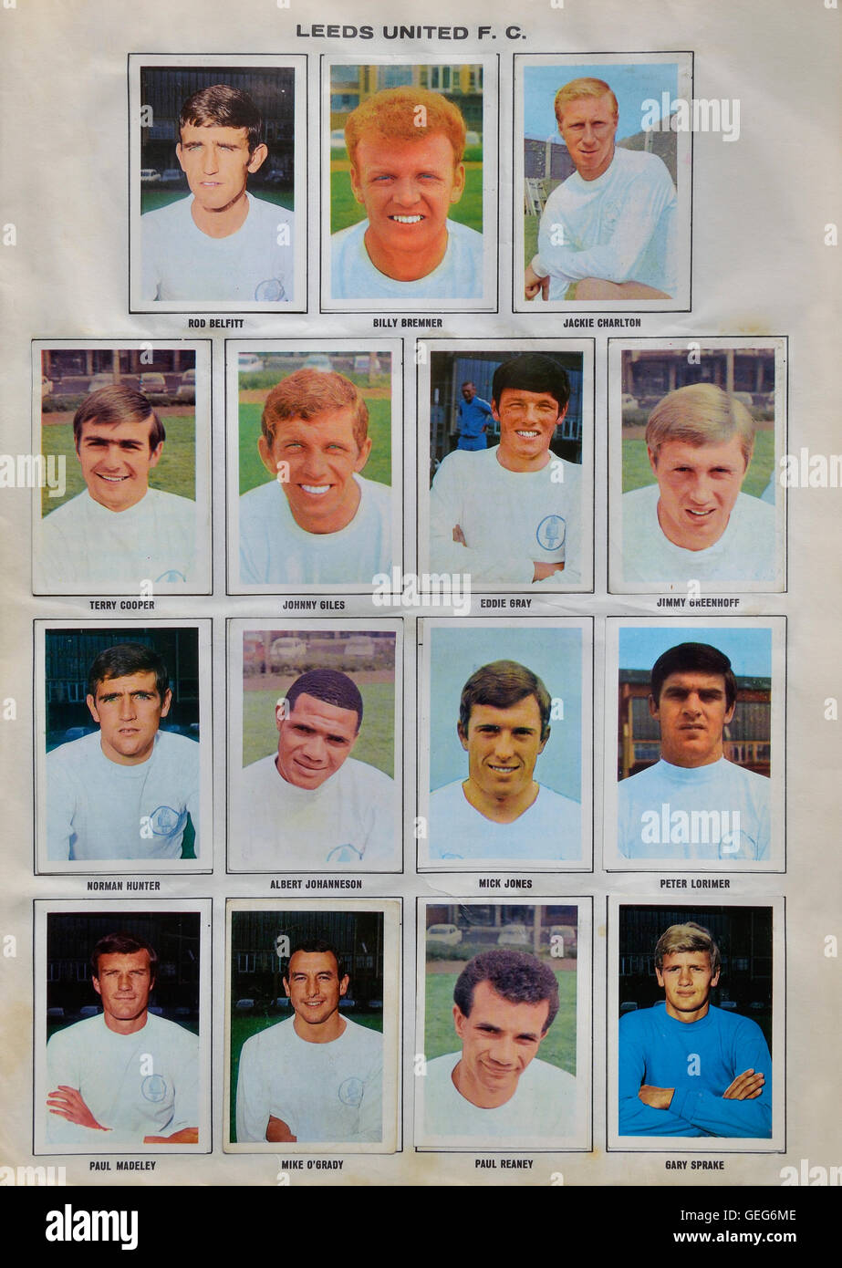 The wonderful world of soccer stars picture stamp album 1968-1969 of the Leeds United squad. Stock Photo