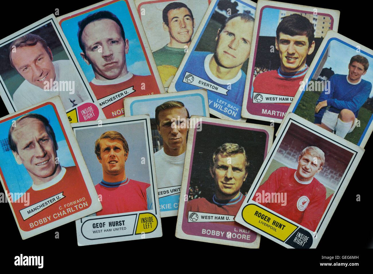 A selection of football bubble gum trading cards featuring players from England's victorious 1966 world cup - Stock Image