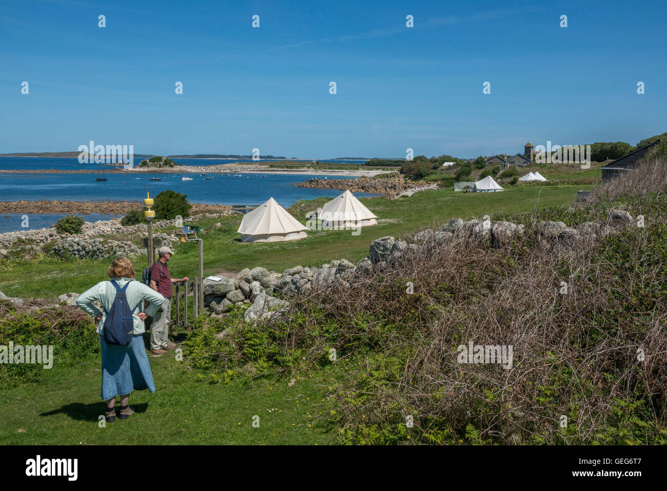 Troytown farm campsite. St Agnes. Isles of Scilly. Cornwall. England. UK - Stock Image