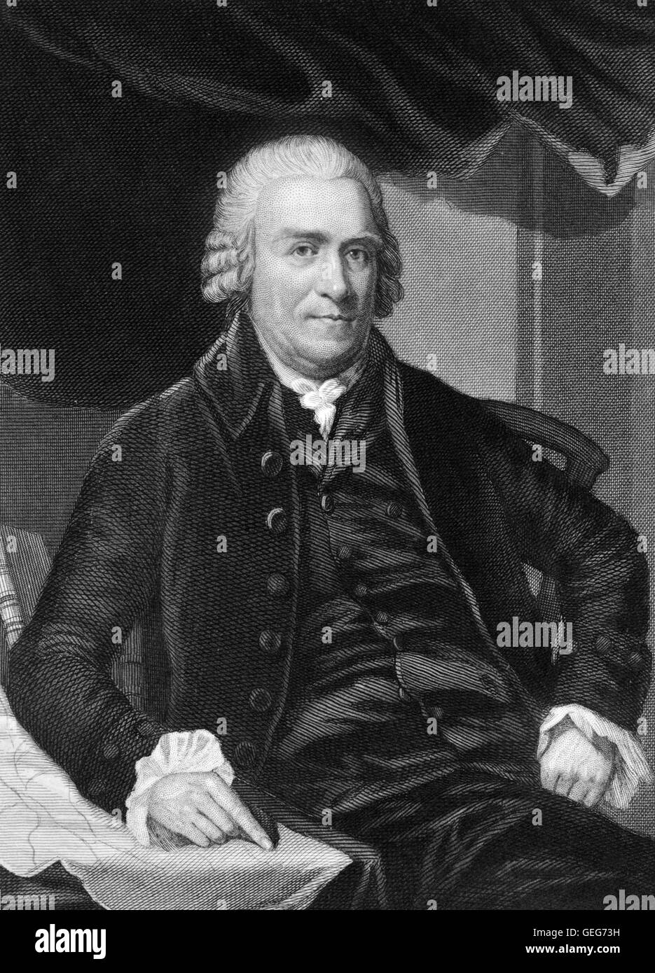 Samuel Adams. Portrait of the american statesman Samuel Adams, engraving by Henry Brian Hall from a painting by - Stock Image