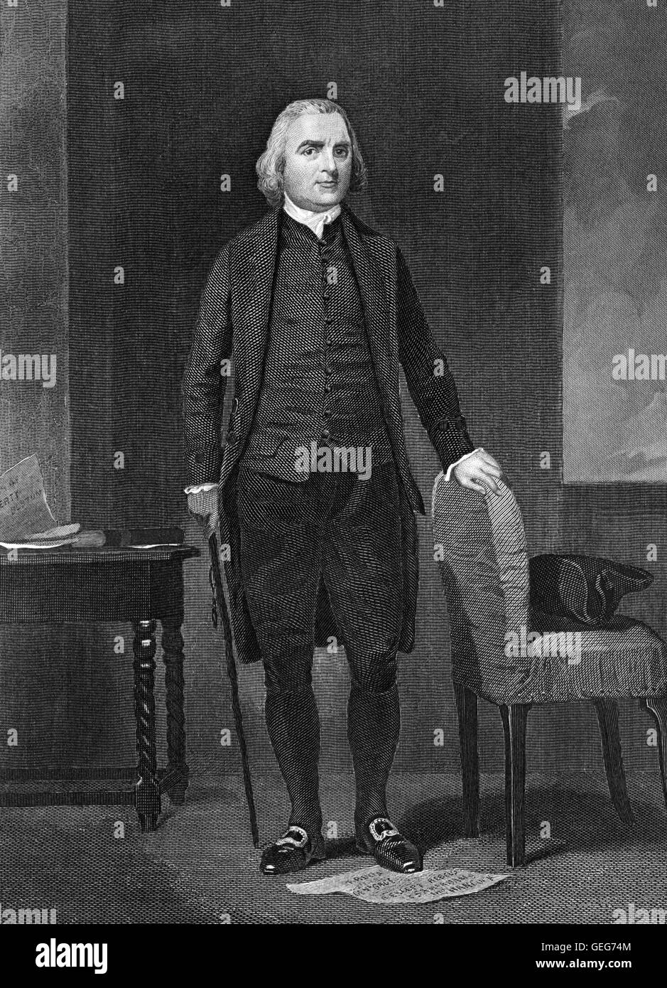 Samuel Adams. Portrait of the american statesman Samuel Adams, engraving from a painting by Alonso Chappel - Stock Image