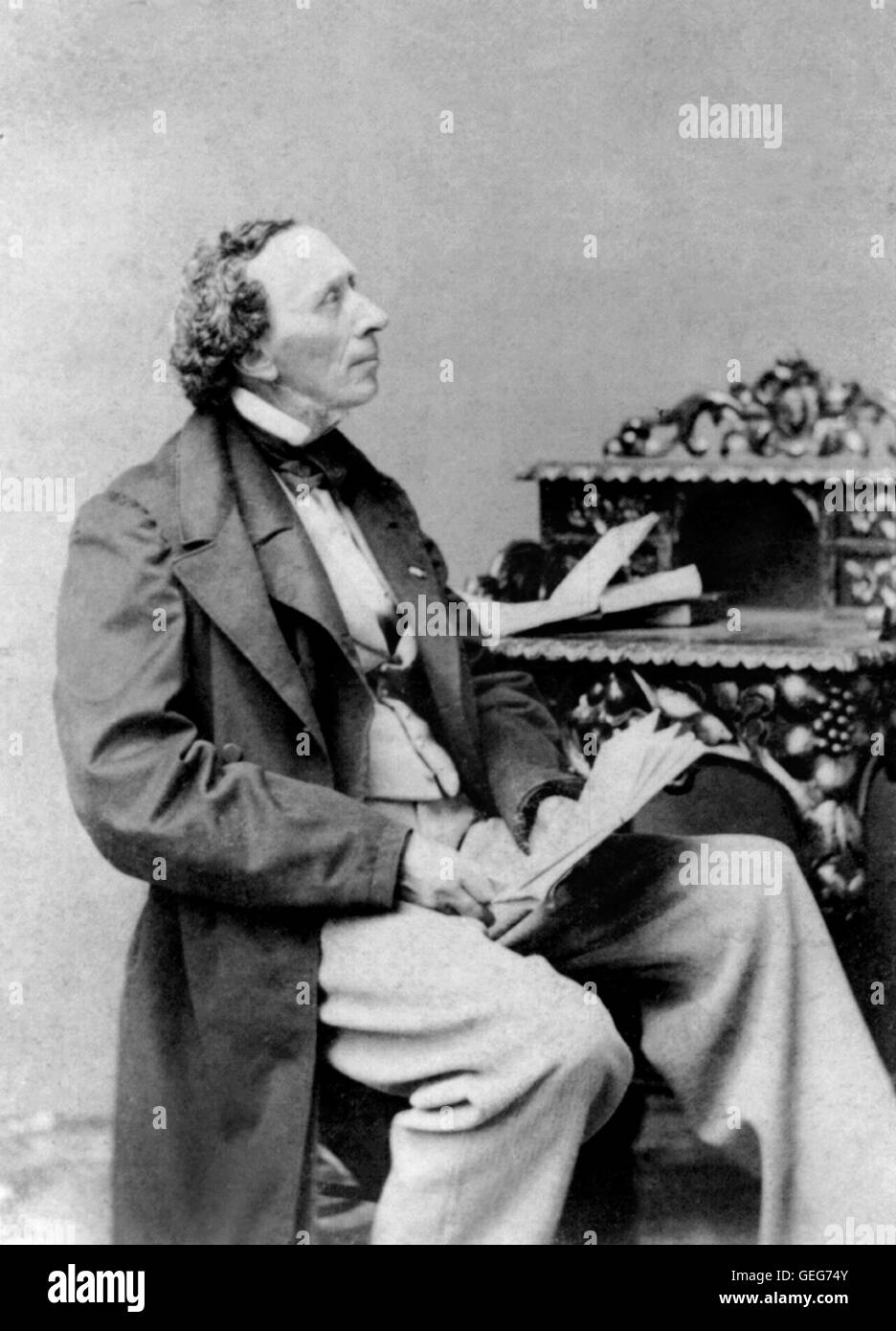 Hans Christian Andersen (1805-1875), the Danish author famous for his fairy tales. Undated photograph by George - Stock Image