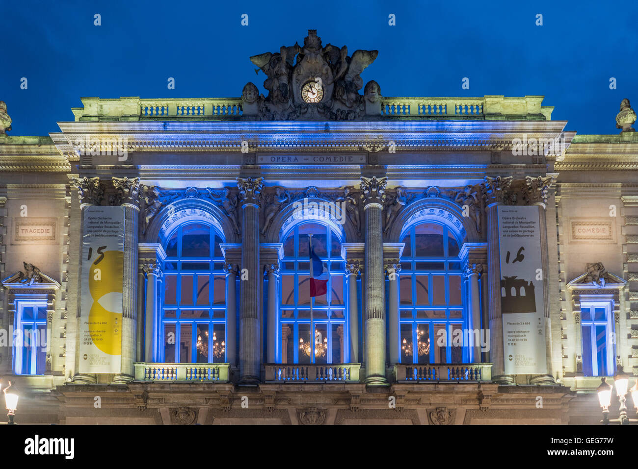 Opera, Place de la Comedie in the city of Montpellier at night, Languedoc-Roussillon, France Stock Photo