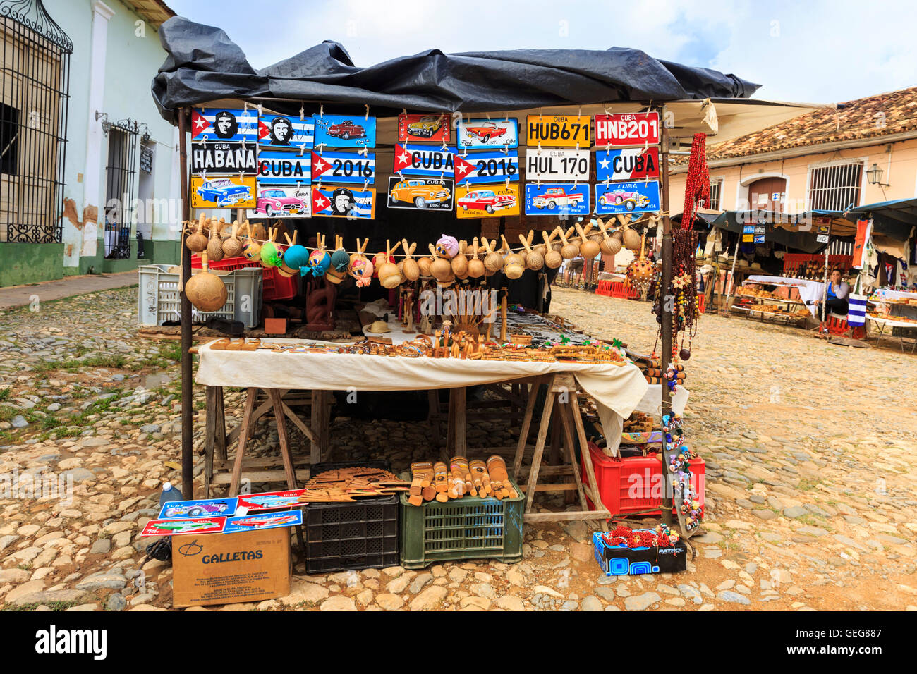 Souvenir Gift Stall Selling Handicrafts At Street Market In A Stock