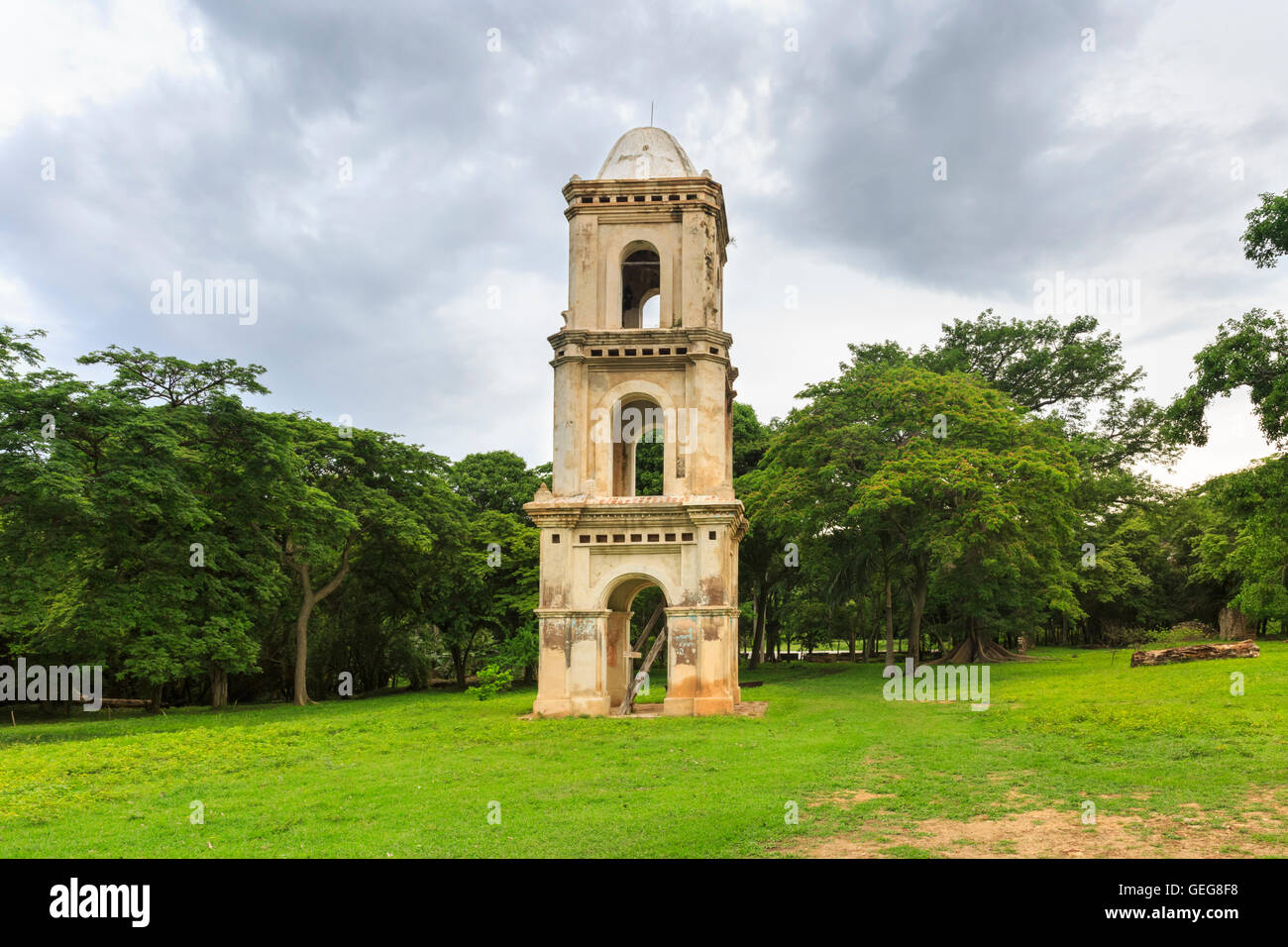Bell tower of San Isidro de los Destiladeros, old Sugar Mill estate in the Valley of the Sugar Mills, Cuba - Stock Image