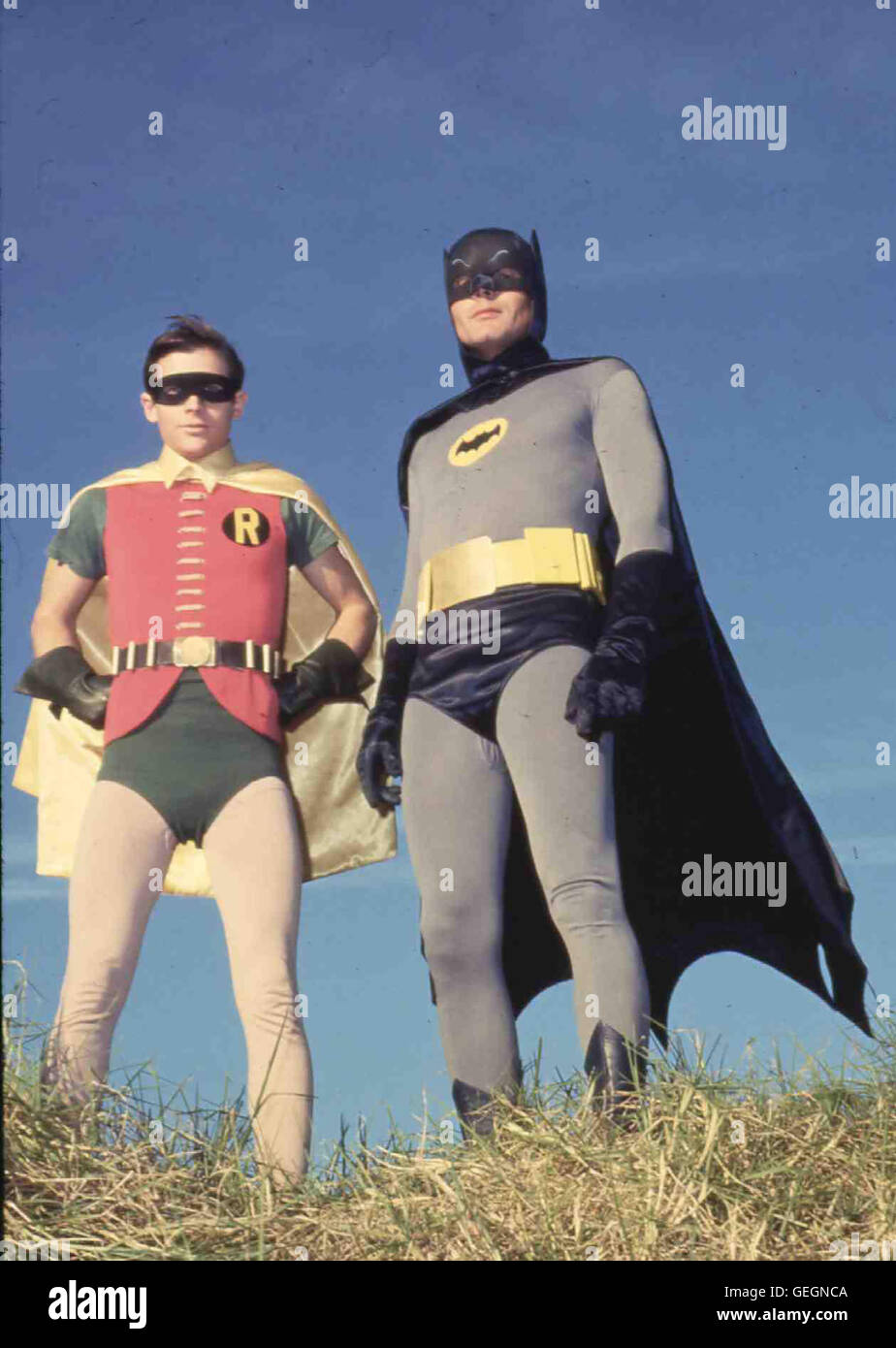 Robin (Burt Ward), Batman (Adam West) *** Local Caption *** 1966-1968, 1960er, 1960s, Batman, Comic Film adaption, - Stock Image