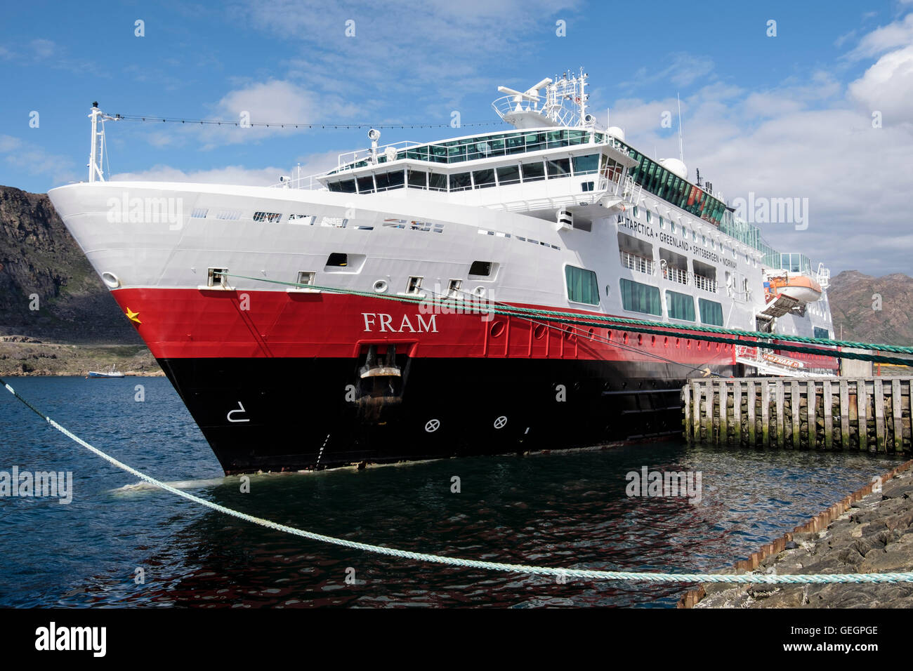 Hurtigruten MS Fram explorer cruise ship docked on quayside in port of Sisimiut (Holsteinsborg), Qeqqata, West Greenland - Stock Image