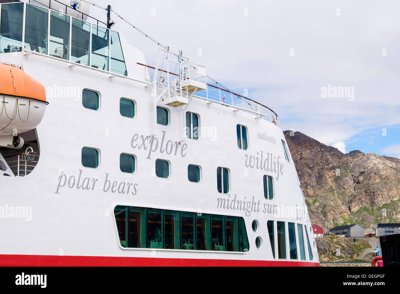Words on side of Hurtigruten MS Fram explorer cruise ship docked in port in 2016. Sisimiut West Greenland - Stock Image