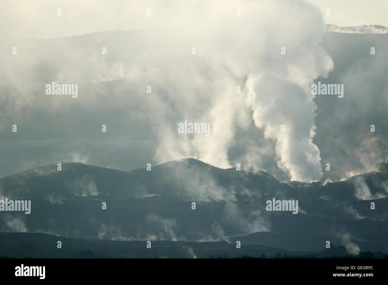Steam vents at Hverond Lake Myvatn Iceland LA008788 - Stock Image