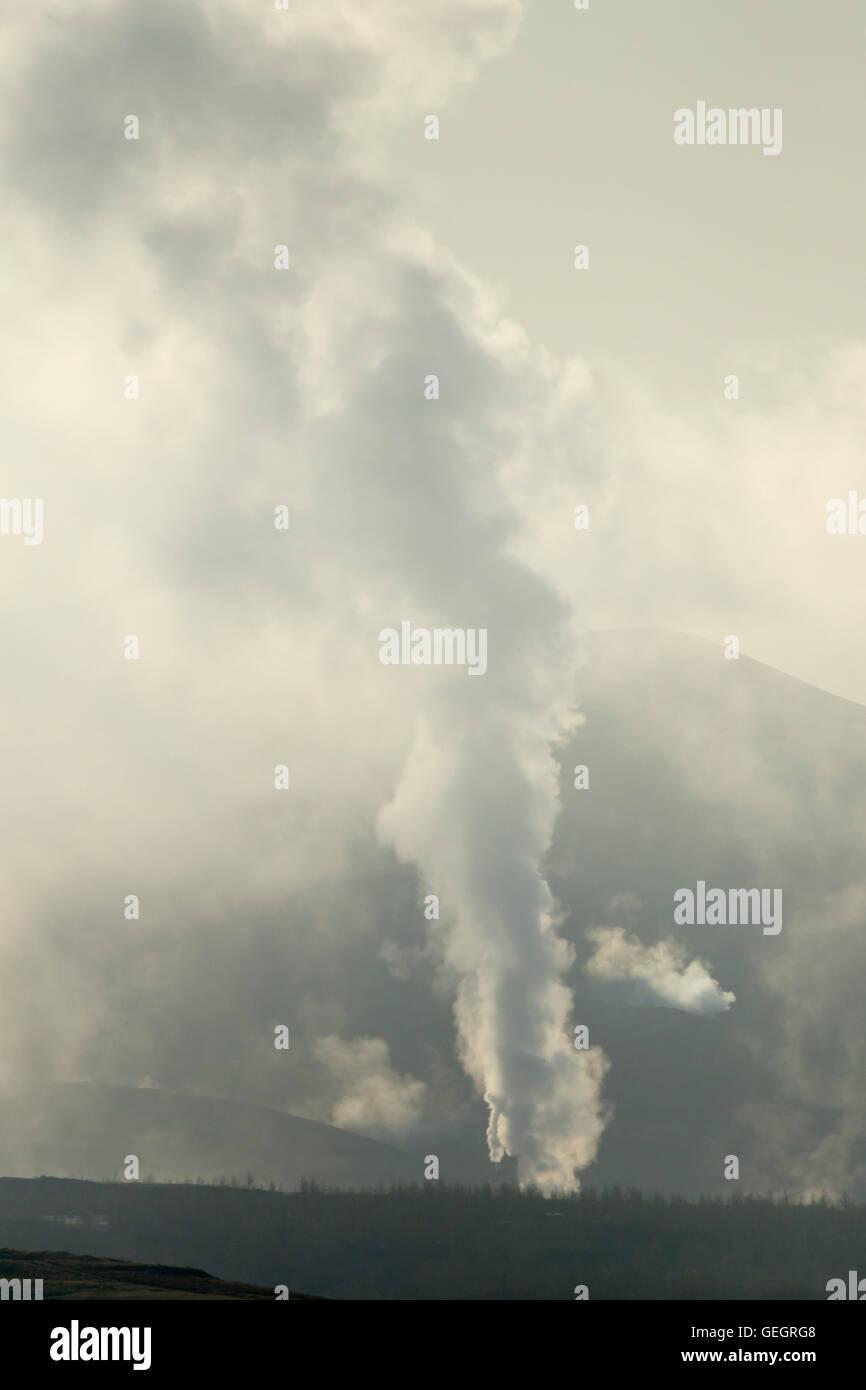 Steam vents at Hverond Lake Myvatn Iceland LA008790 - Stock Image
