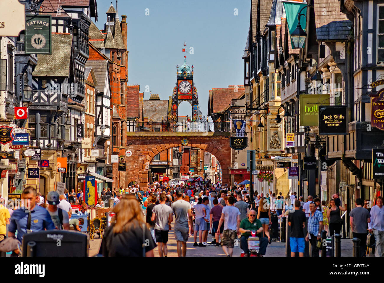 Eastgate and the Chester clock on the Roman wall in the city centre of Chester, the county town of Cheshire. - Stock Image