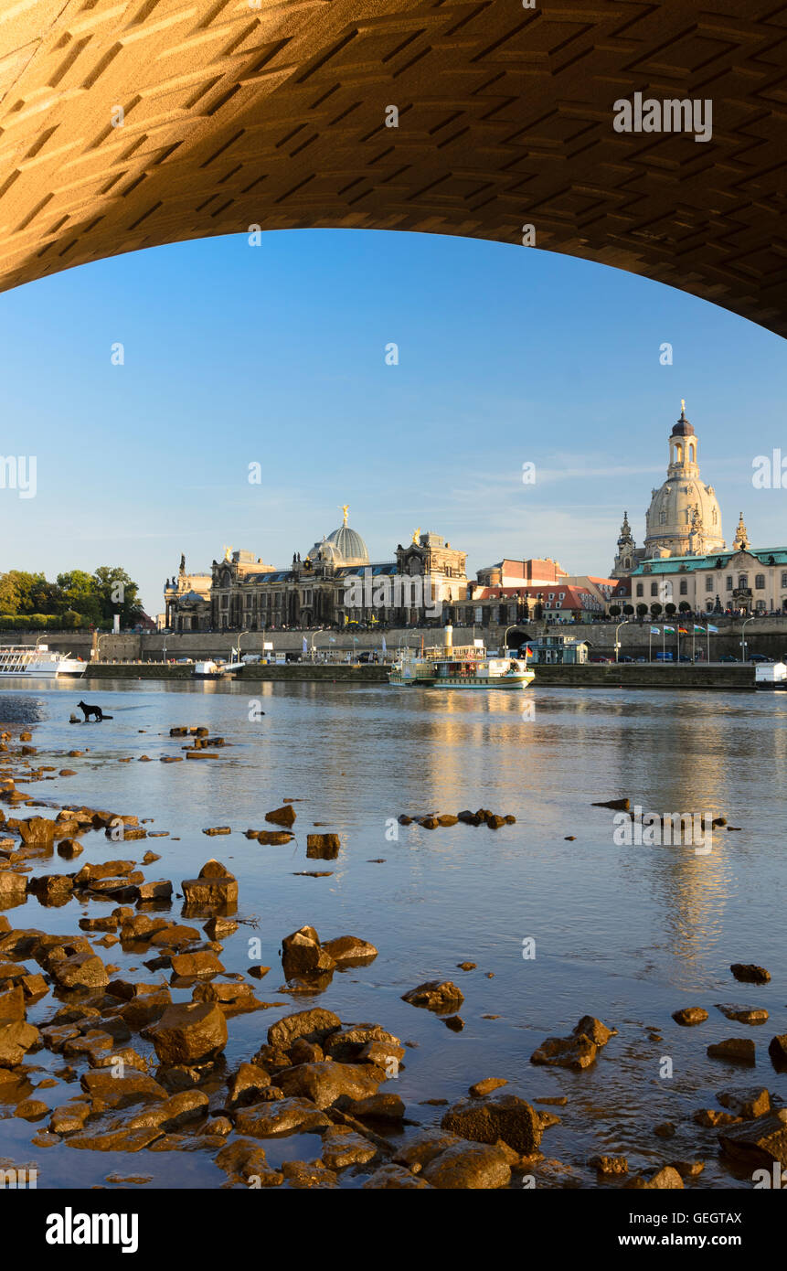 Dresden: View from below the Augustus Bridge on the River Elbe with a passing steamer , on Brühl's Terrace - Stock Image