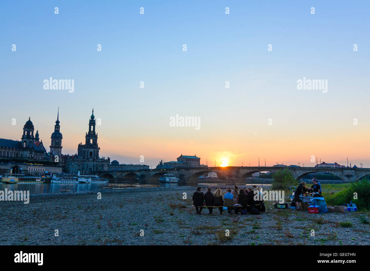 Dresden: Party on the River Elbe with Augustus bridge , Ständehaus , castle tower , Hofkirche and Semperoper, Germany, Stock Photo