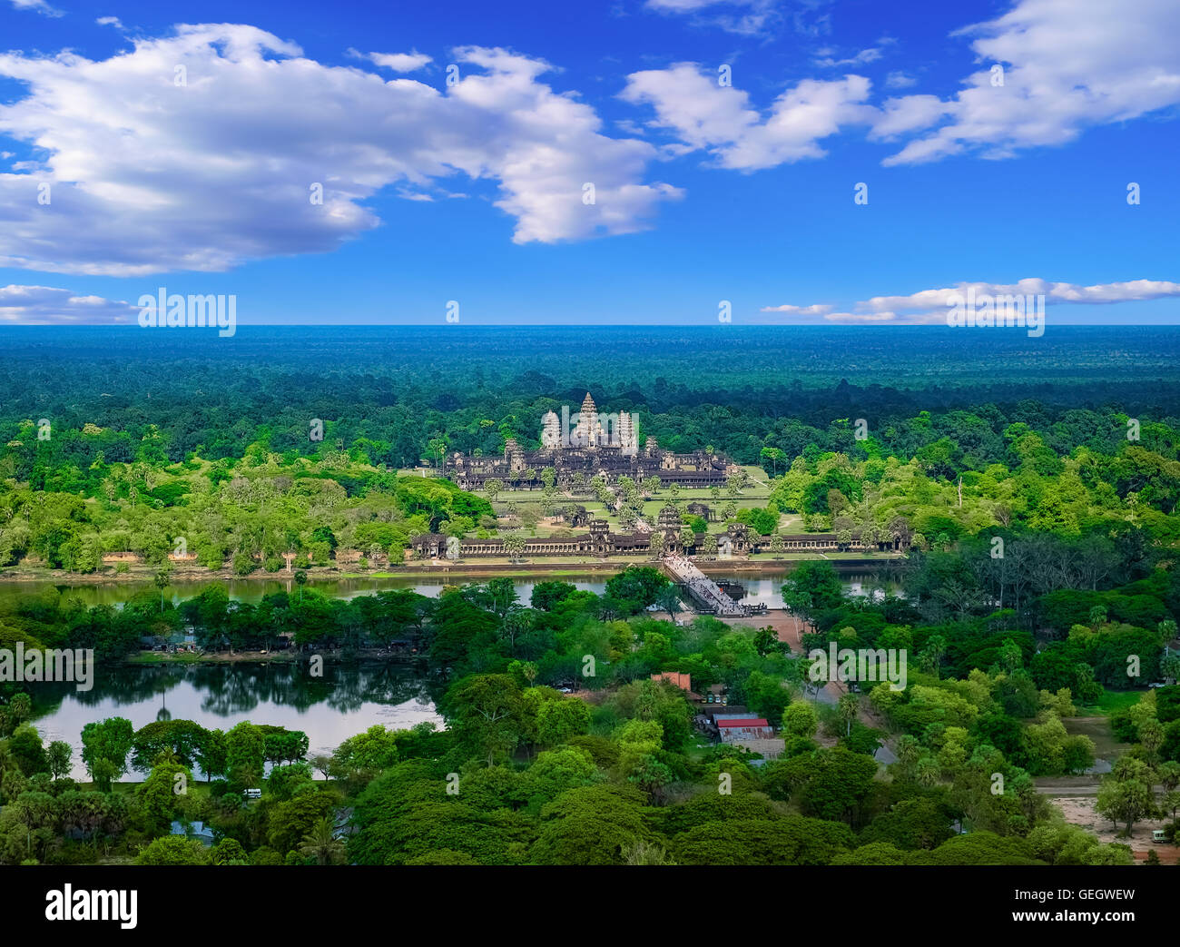 Aerial view of Angkor Wat Temple, Siem Reap, Cambodia, Southeast Asia. UNESCO World Heritage Site. - Stock Image