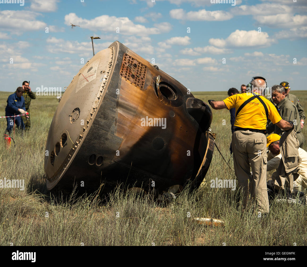 Expedition 47 Soyuz TMA-19M Landing  06180028 - Stock Image