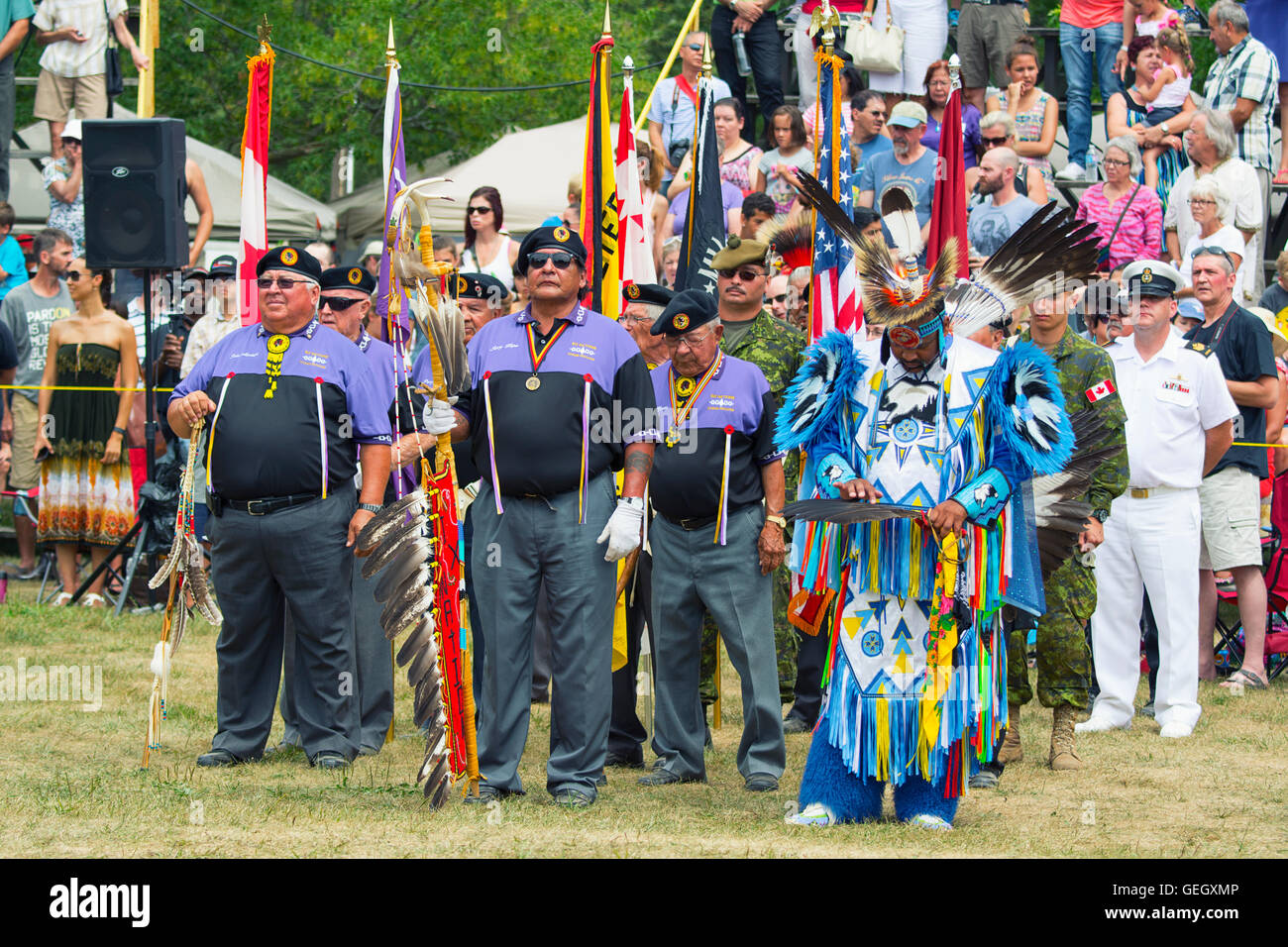 Pow Wow, Native Men, Aboriginal Veterans at the annual Six Nations of the Grand River Powwow Champion of Champions - Stock Image