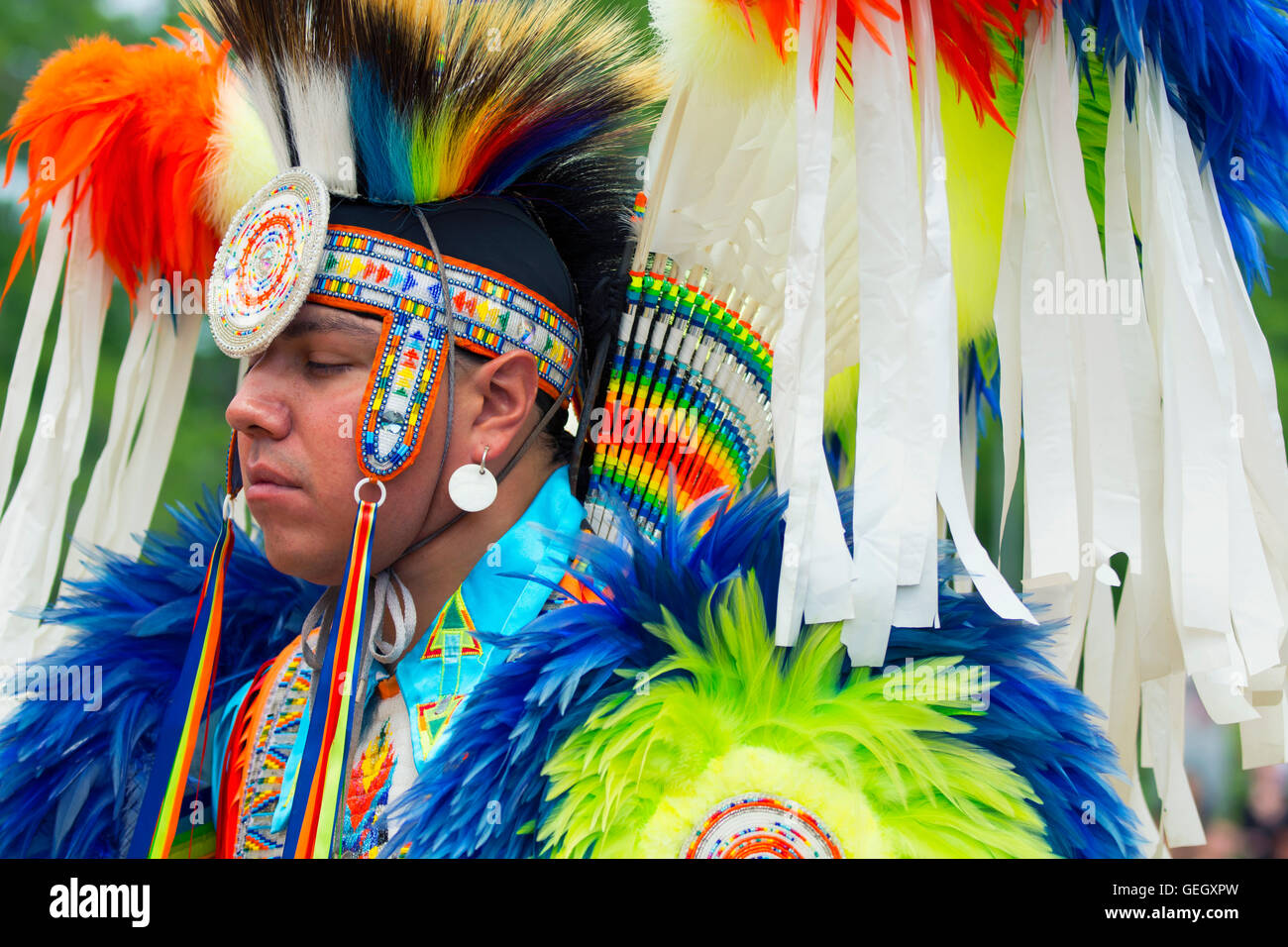 Pow ow Native Dancer in Traditional Regalia at the Six Nations of the Grand River Champion of Champions Powwow, - Stock Image