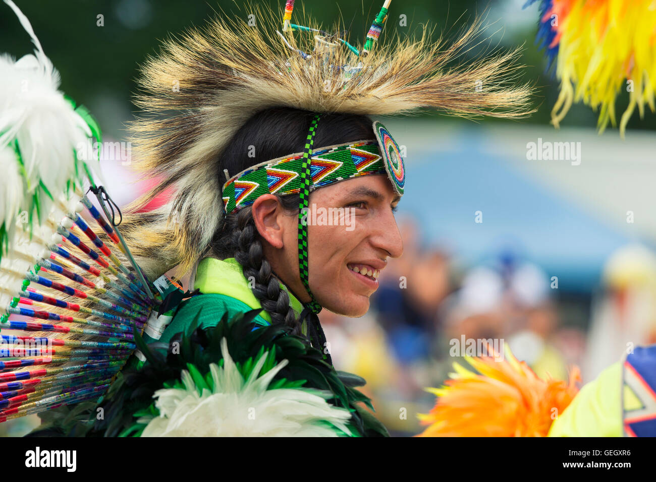 Pow Wow Native Dancer in Traditional Costume at the Six Nations of the Grand River Champion of Champions Powwow, - Stock Image