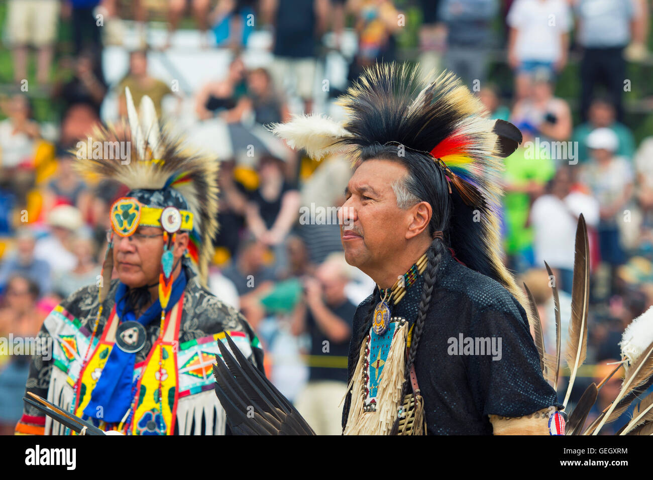 Pow Wow Native Male Dancer in Traditional Costume Six Nations of the Grand River Champion of Champions Powwow, Ohsweken - Stock Image