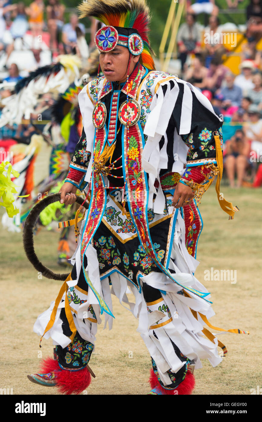 Pow Wow Native Dancer in Traditional Regalia at the Six Nations of the Grand River Champion of Champions Powwow, - Stock Image