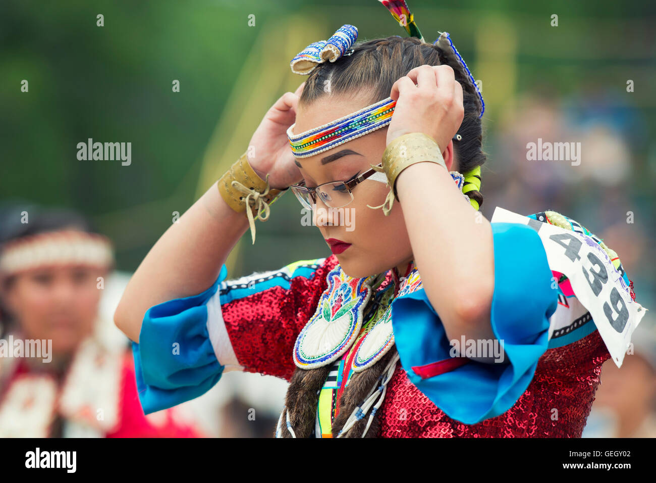 Pow Wow Native Female Dancer in Traditional Costume Six Nations of the Grand River Champion of Champions Powwow, - Stock Image