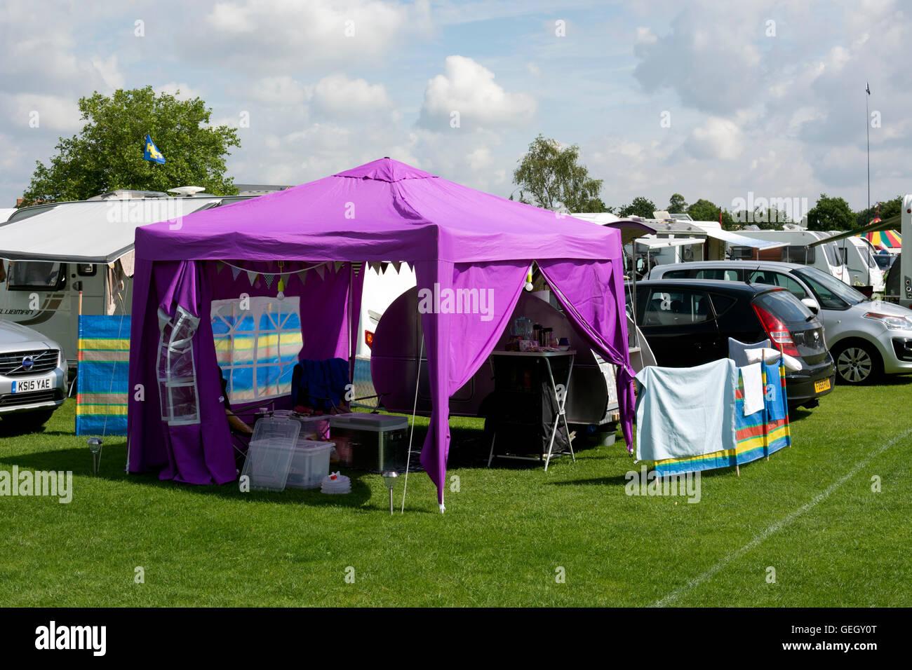 A gazebo at the Warwick Folk Festival campsite, Warwick, UK - Stock Image