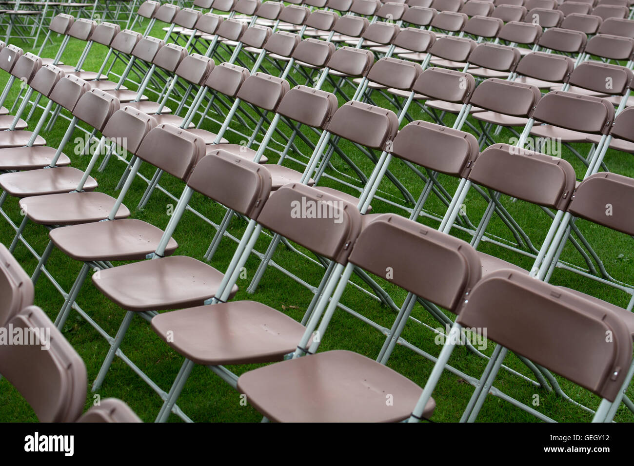 Rows of temporary seating at the Warwick Folk Festival, UK Stock