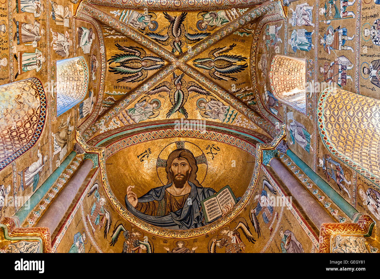 Italy Sicily Ceaflù cathedral interior Mosaic - Stock Image