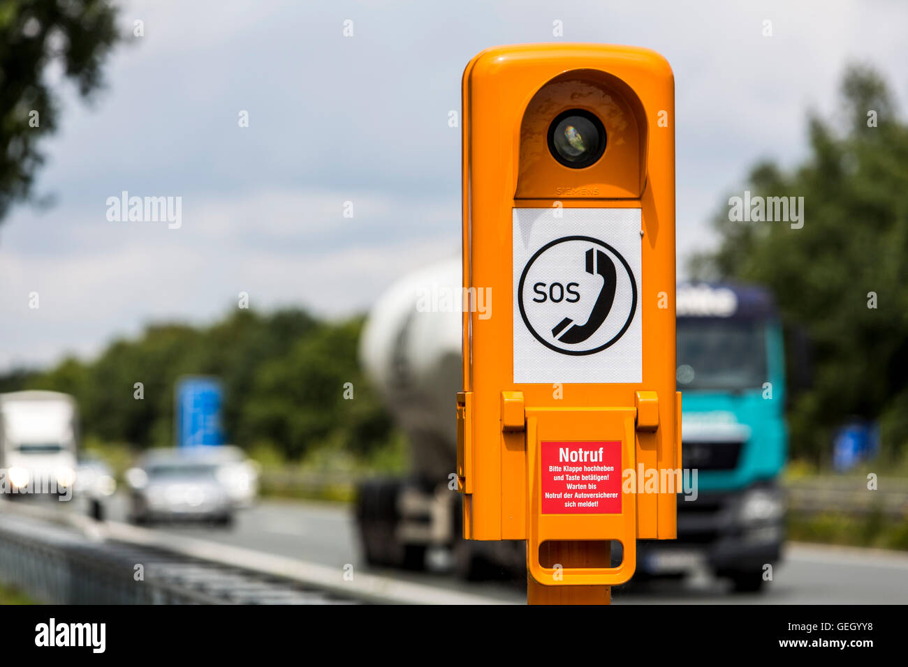 SOS telephone, roadside emergency telephone, call box, along the German Autobahn, motorway, direct access to emergency - Stock Image