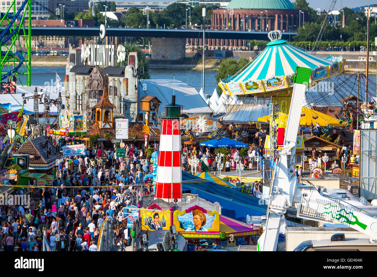 Largest fair on the Rhine, more than 4 millions visitors, with many modern amusement park rides, beer tents, Düsseldorf, - Stock Image